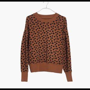 Madewell Pleat Sleeve Leopard Dot Sweatshirt